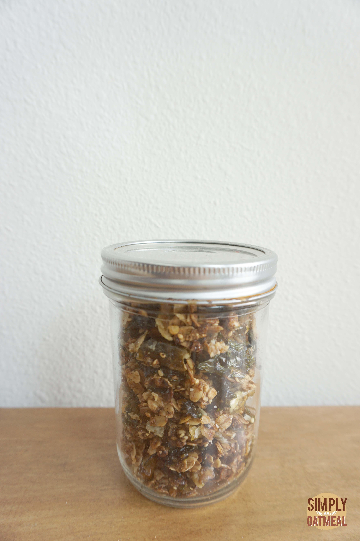 Korean bbq granola in an airtight mason jar