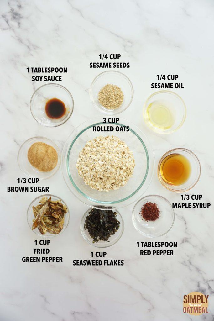 All the ingredients to make Korean bbq granola
