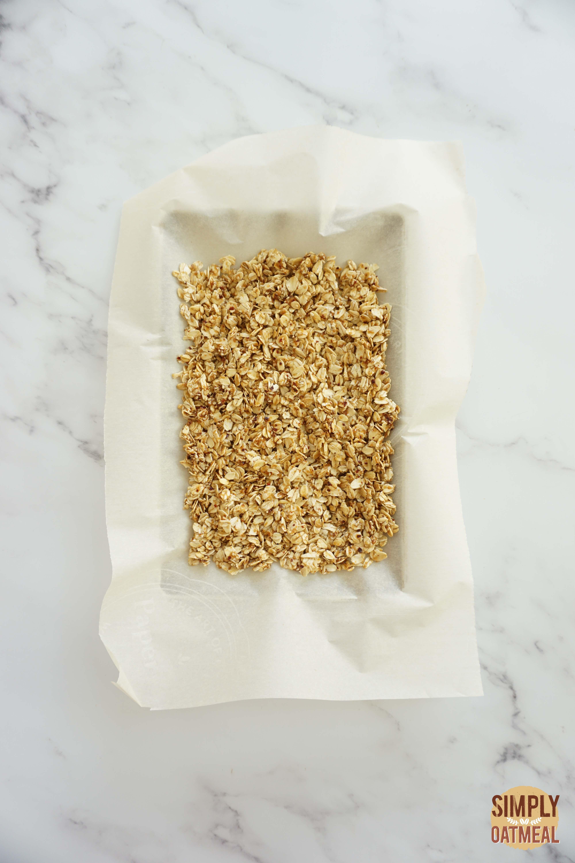 Korean bbq granola on a baking sheet pan