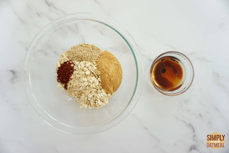 Wet and dry ingredients to make Korean bbq granola