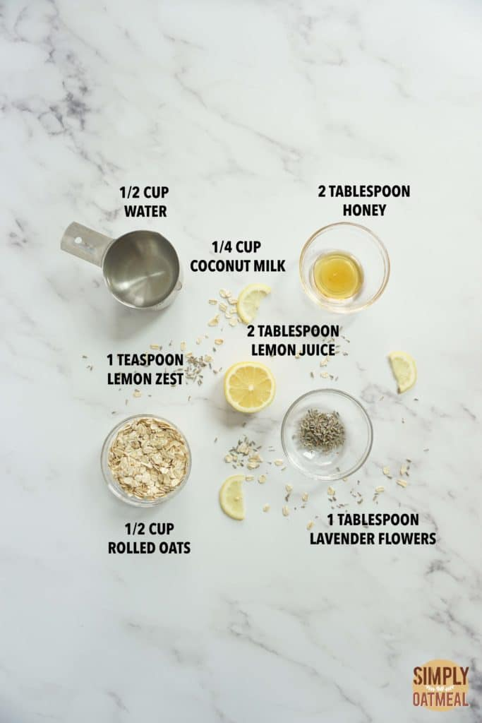 Ingredients to make lavender lemonade overnight oats
