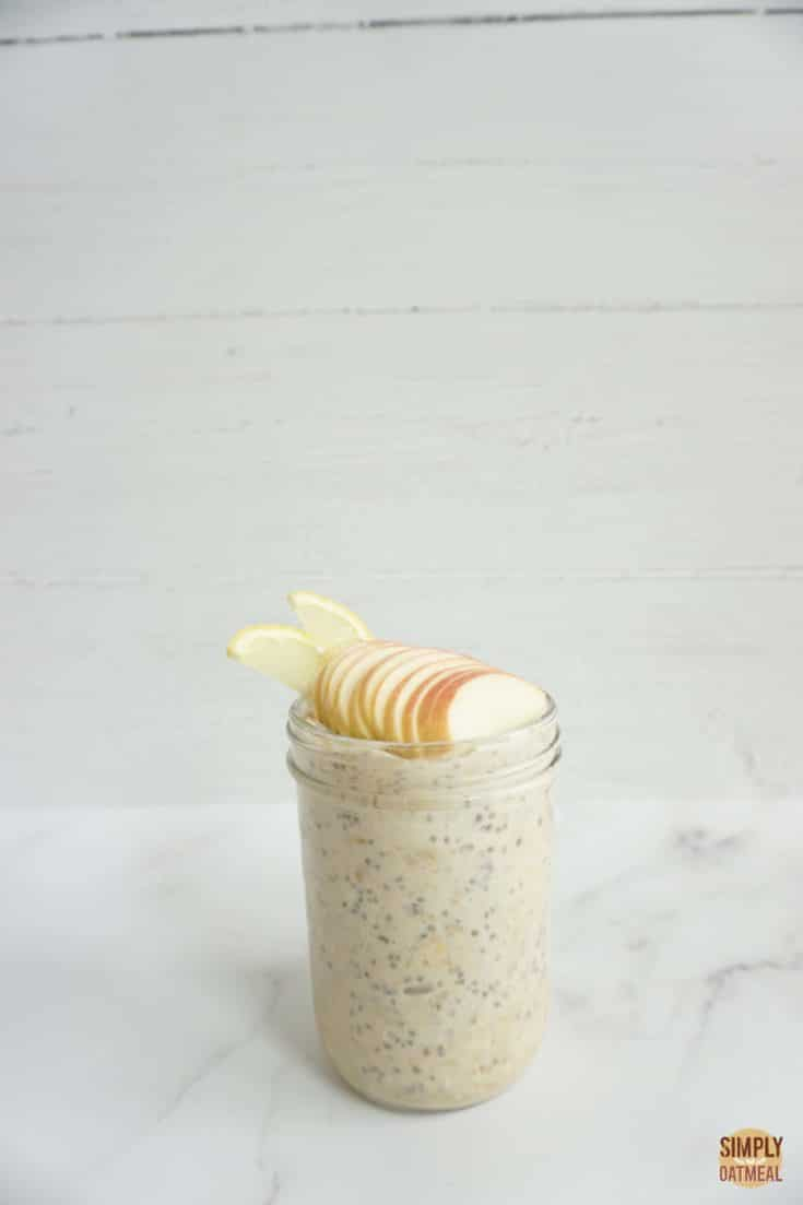 Single serving of lemon apple overnight oats in a mason jar