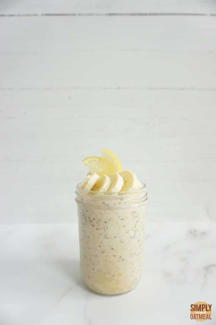Single serving of lemon banana overnight oats in a mason jar
