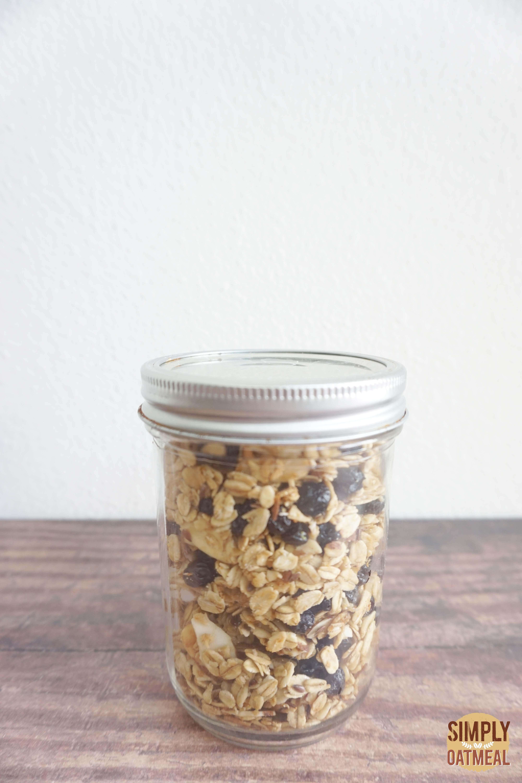 Lemon blueberry granola in an airtight mason jar