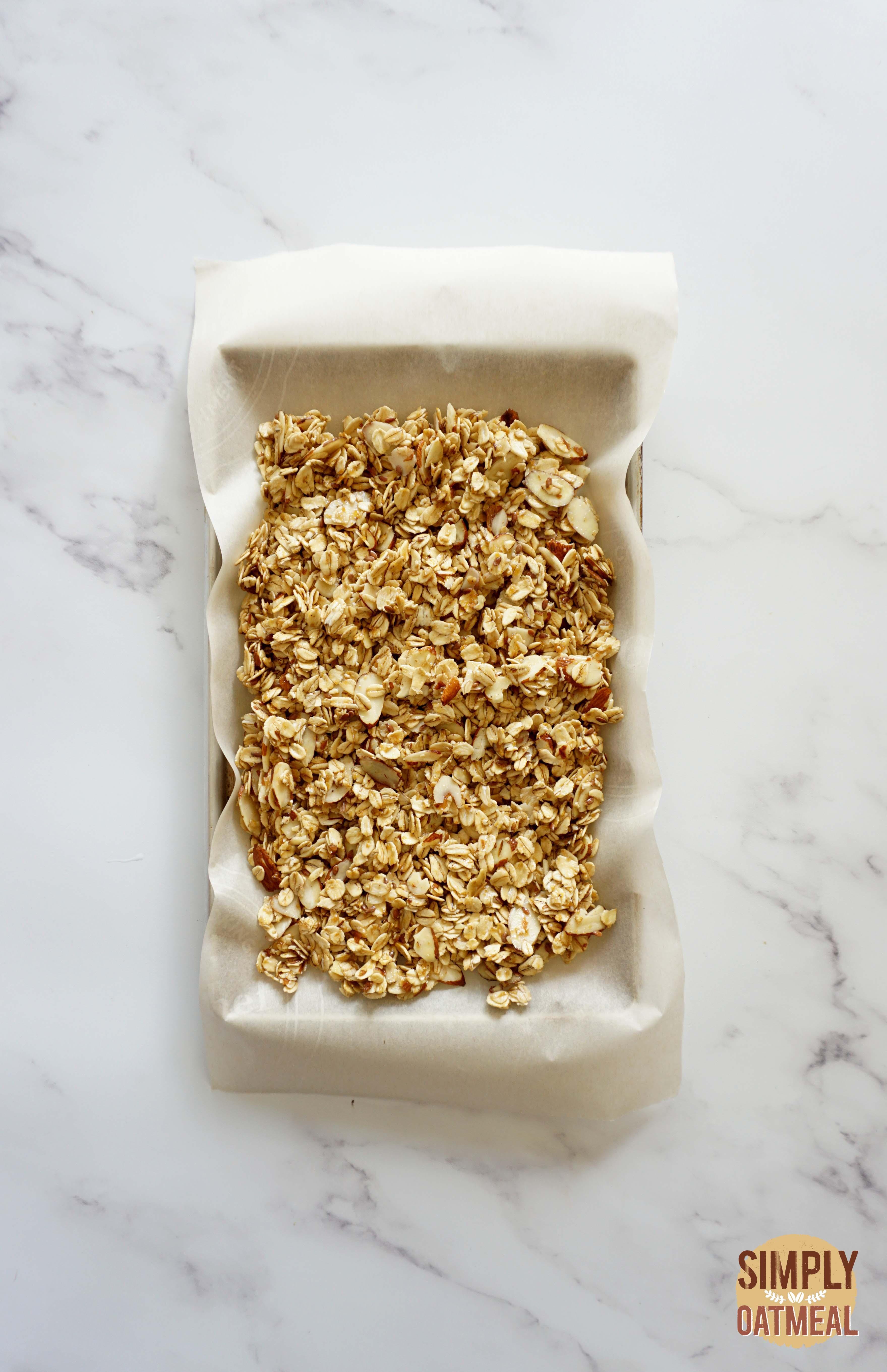 Lemon blueberry granola on a baking sheet pan