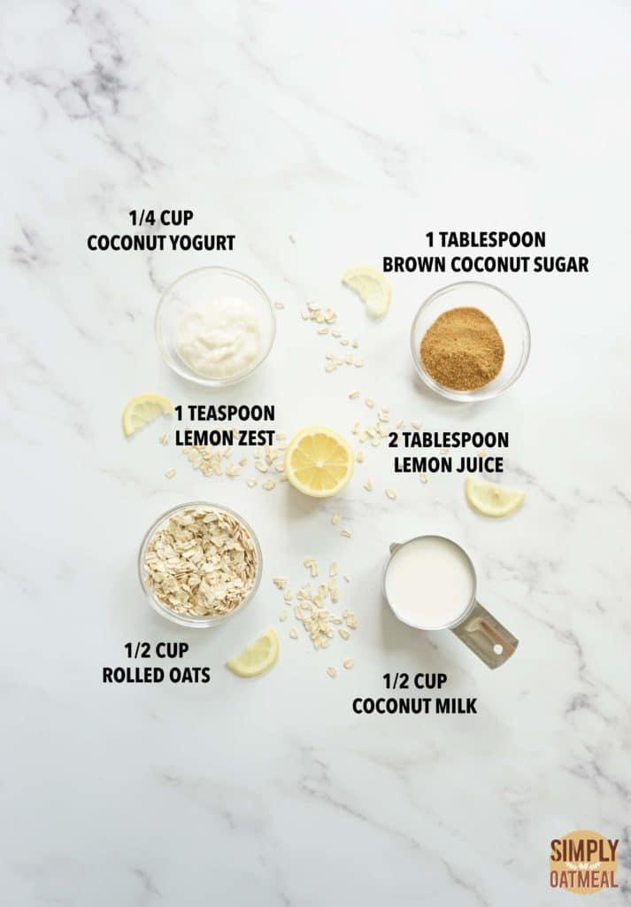 Ingredients to make lemonade overnight oats