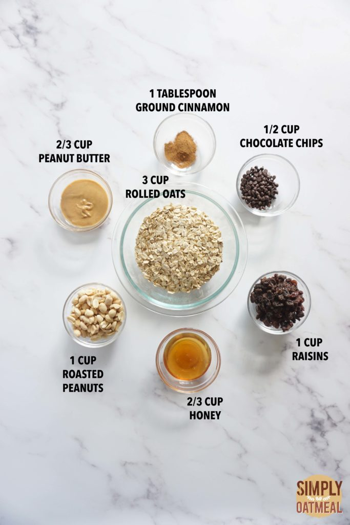 All the ingredients to make oatmeal raisin cookie granola