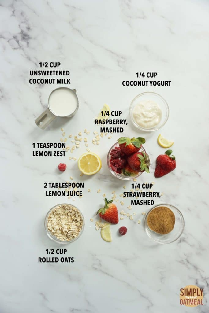 Ingredients to make pink lemonade overnight oats