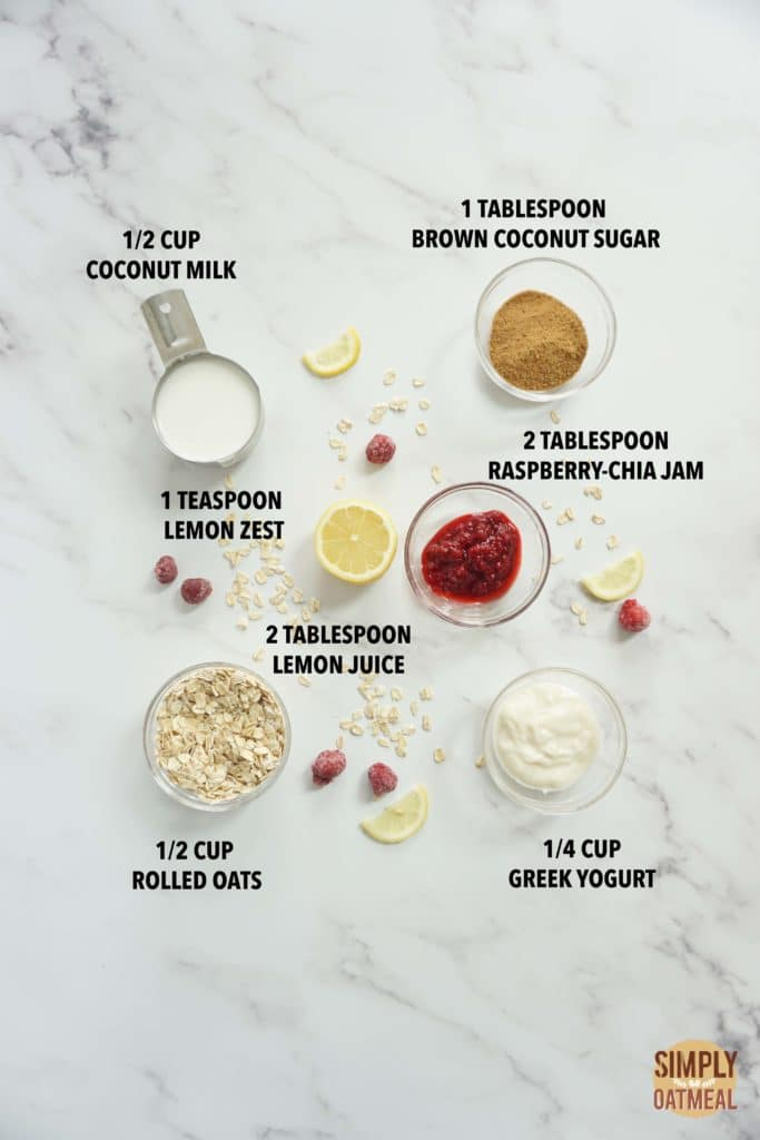 Ingredients to make raspberry lemonade overnight oats