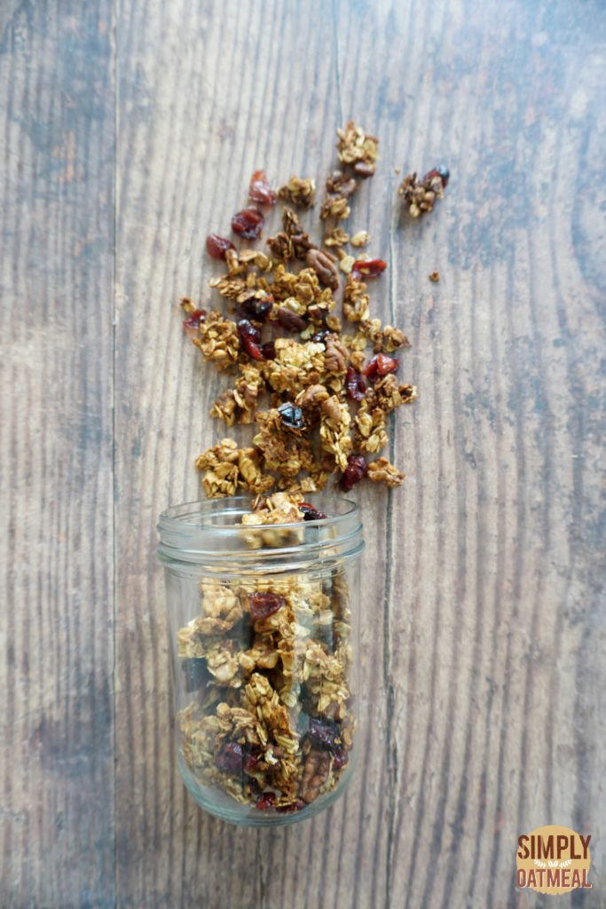 Sweet potato maple granola combines sweet potato puree, walnuts, pecans and dried cranberries with rolled oats.