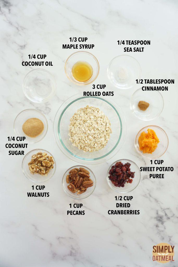All the ingredients to make sweet potato maple granola