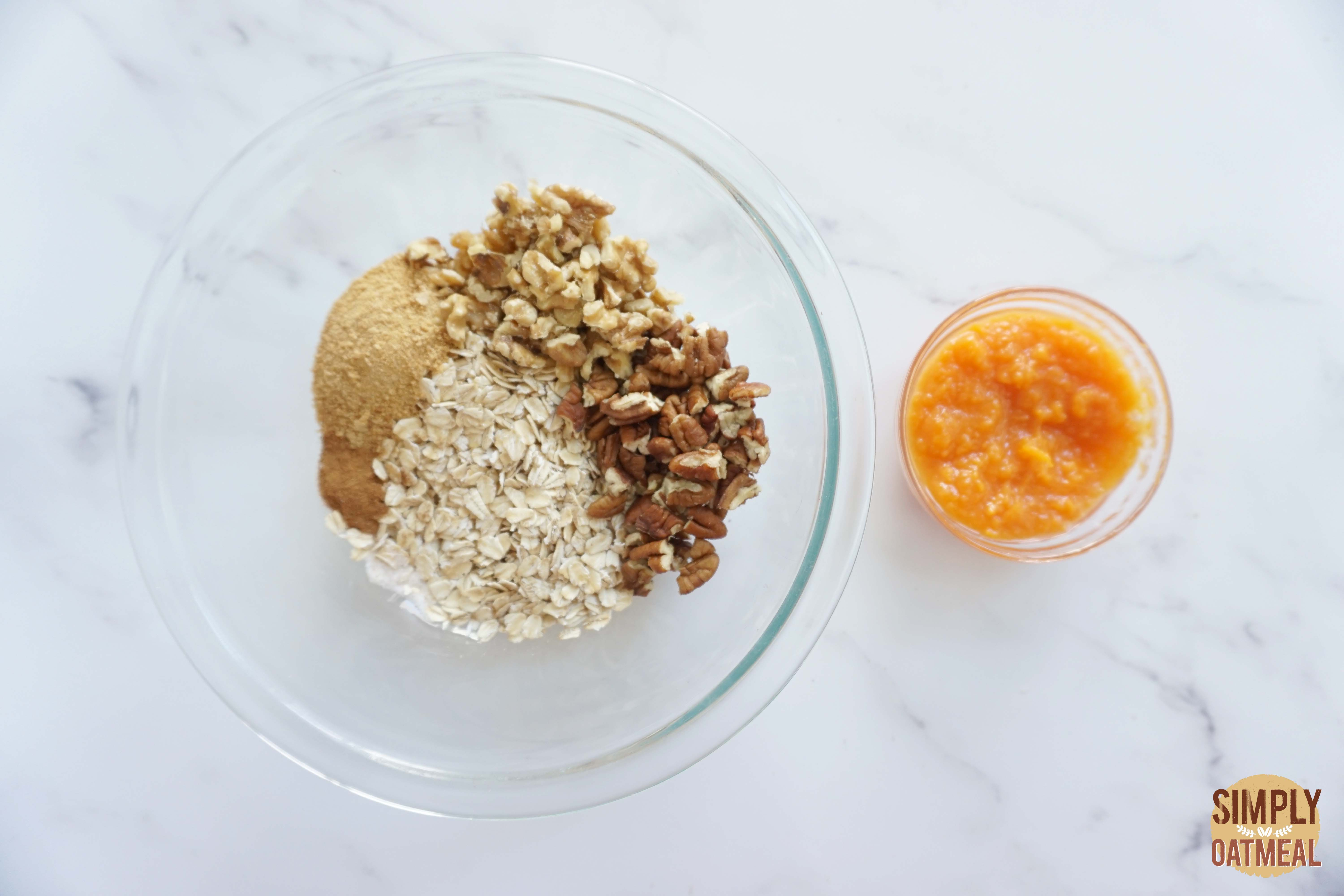 Wet and dry ingredients to make sweet potato maple granola