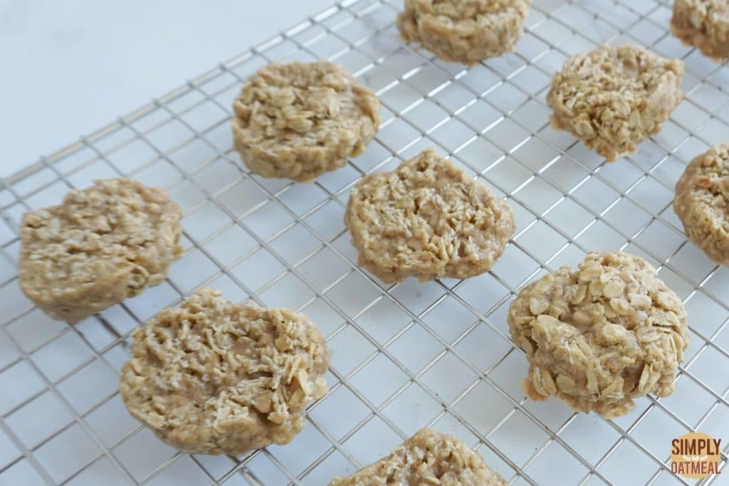 Fresh baked toffee coconut oatmeal cookies on a wire rack