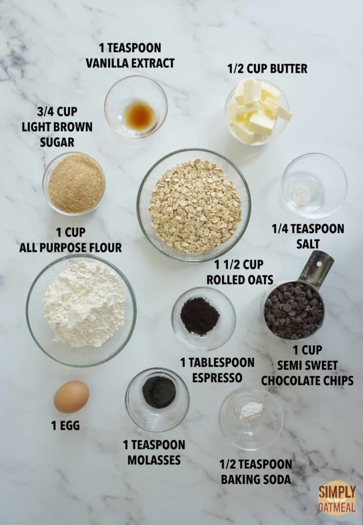 Ingredients to make espresso chocolate chip oatmeal cookies