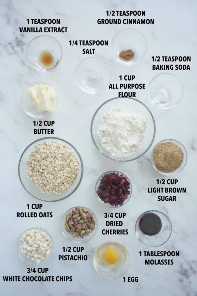 Ingredients to make white chocolate cherry oatmeal cookies