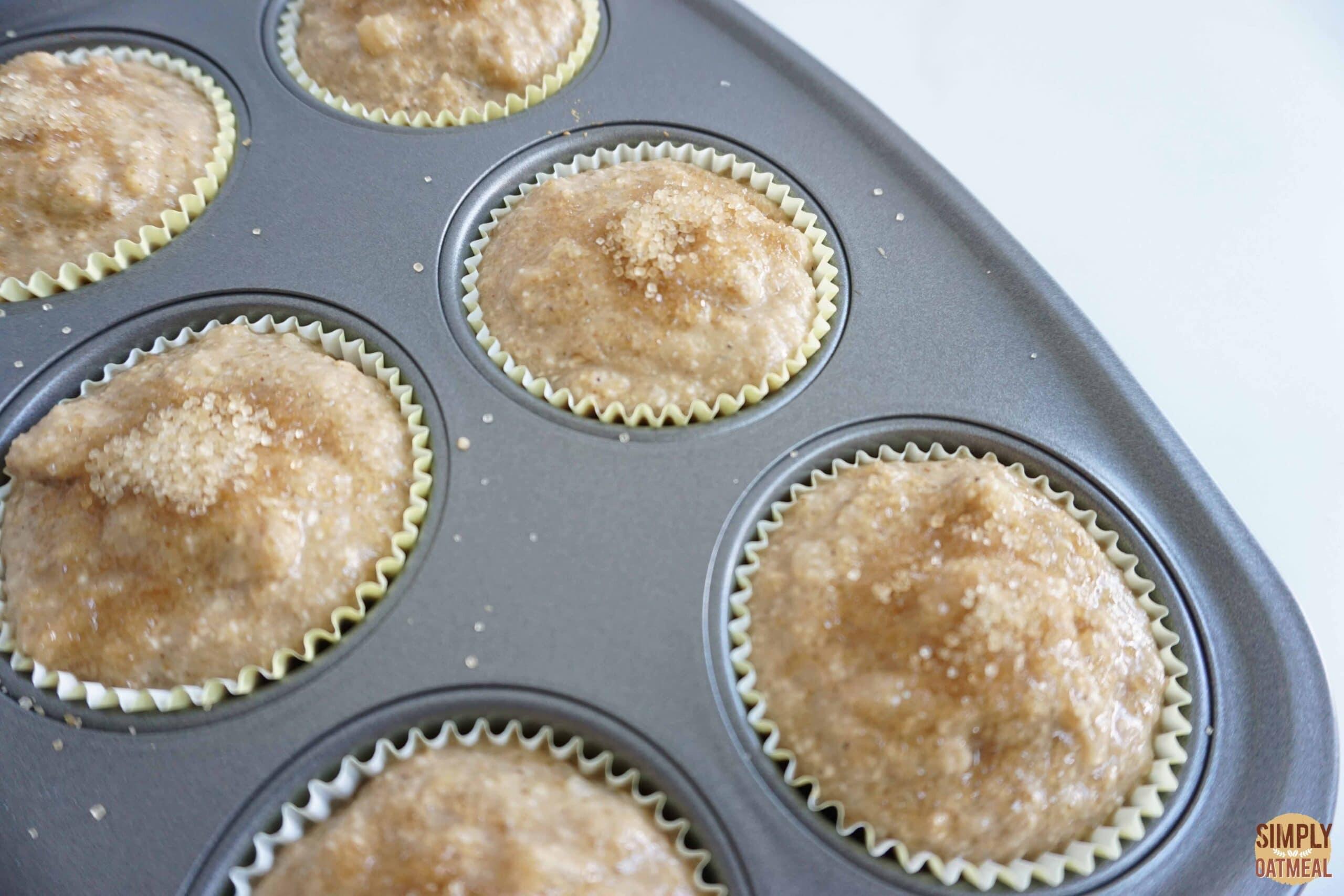 Baked vegan banana oatmeal muffins in muffin pan