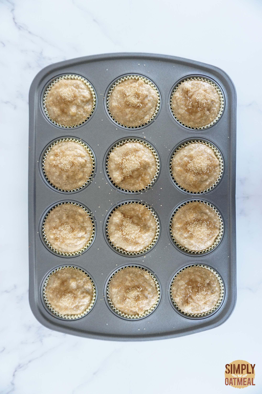 Vegan banana oatmeal muffins batter in muffin pan