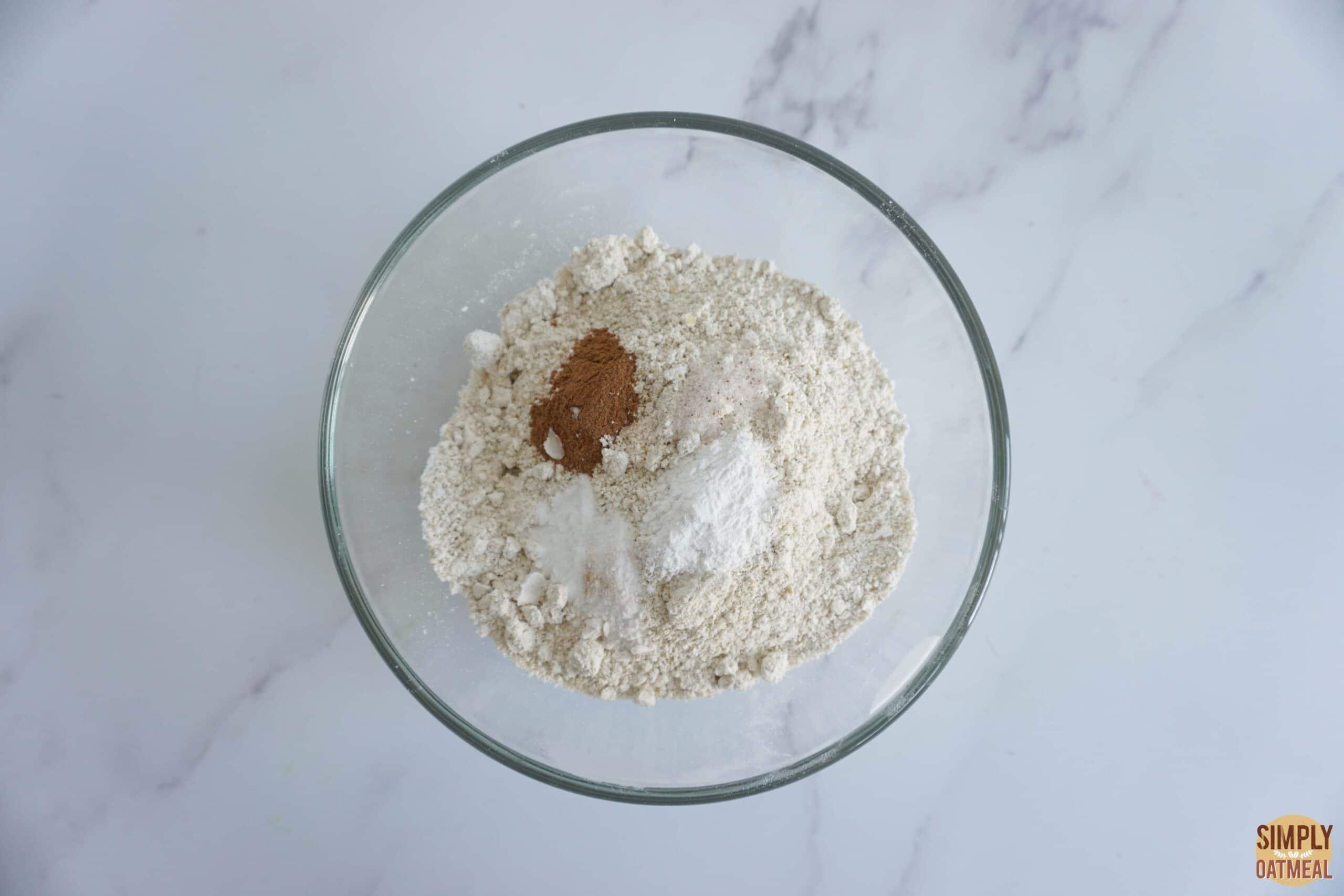 Vegan banana oatmeal muffins flour mixture