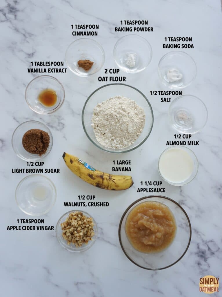 Ingredients to make vegan banana oatmeal muffins