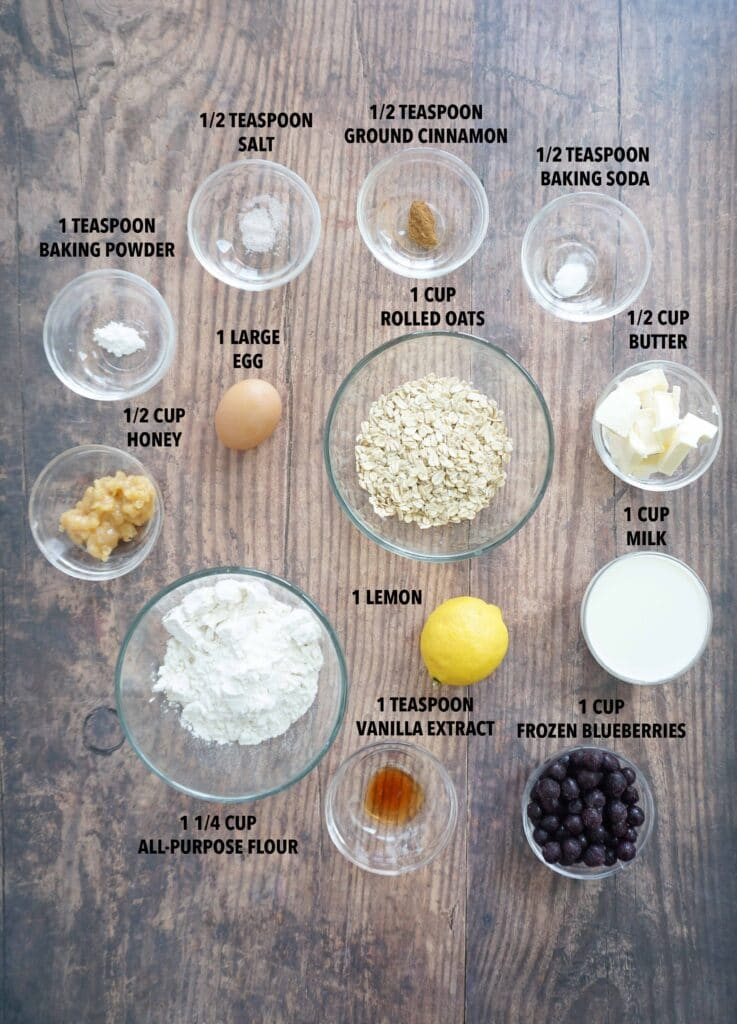 Ingredients to make blueberry lemon oatmeal muffins
