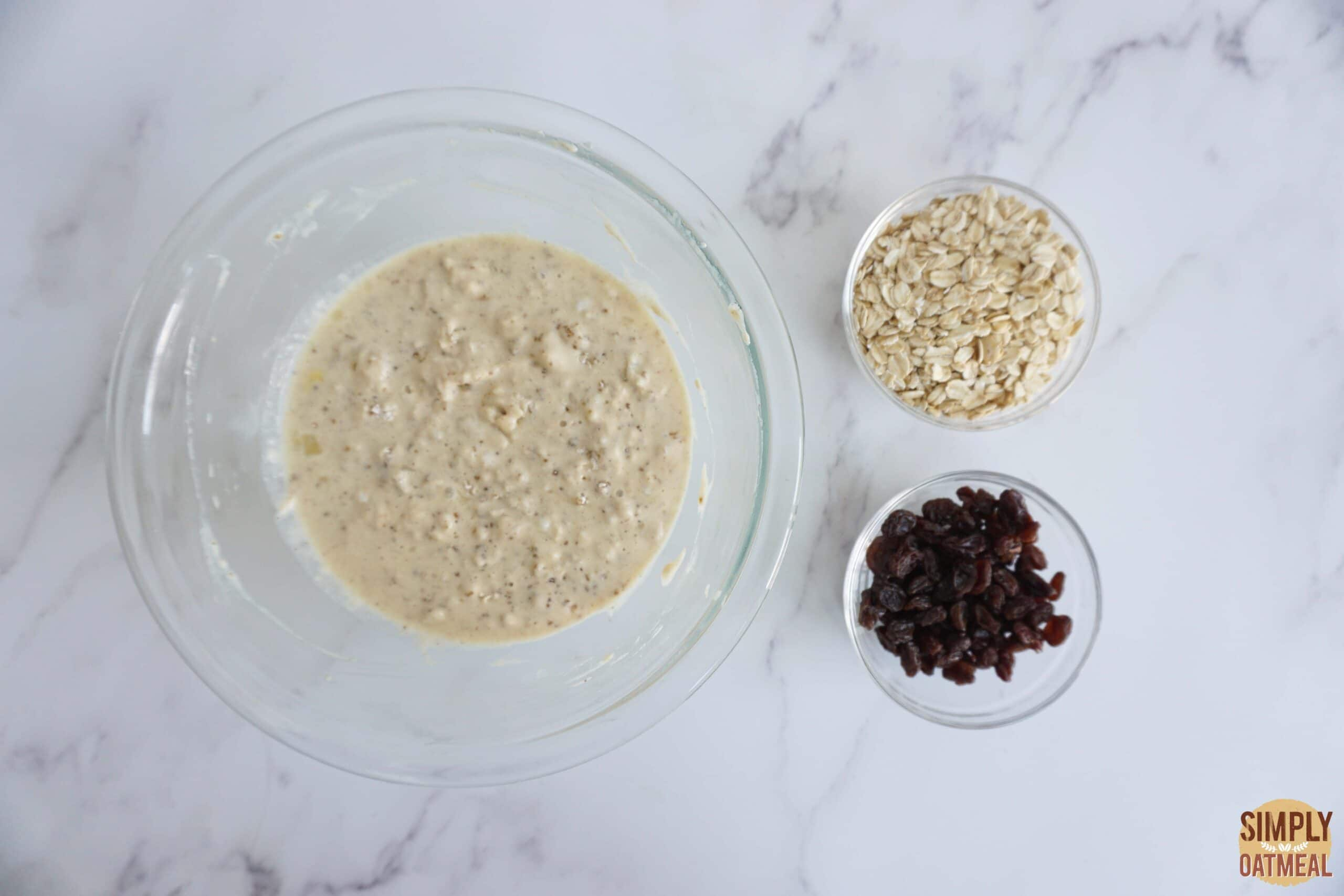 Wet and dry ingredients to make cinnamon streusel oatmeal muffins