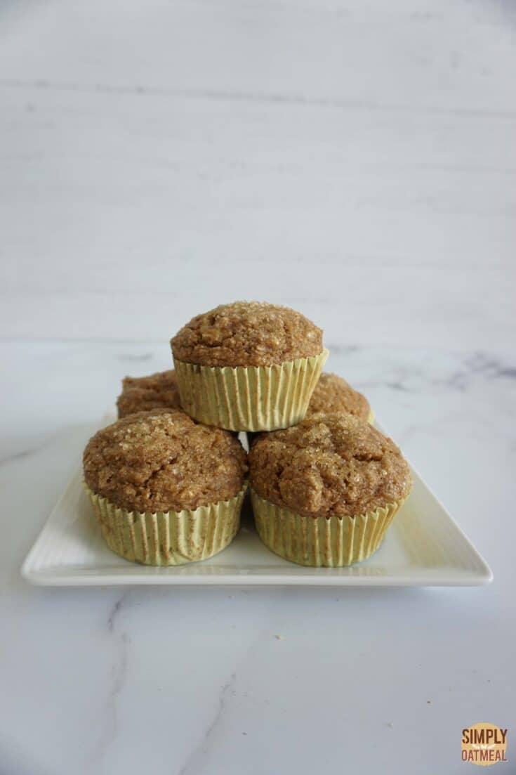 Fresh baked vegan banana oatmeal muffins on a plate