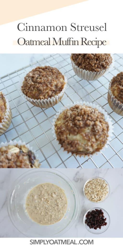 How to make cinnamon streusel oatmeal muffins