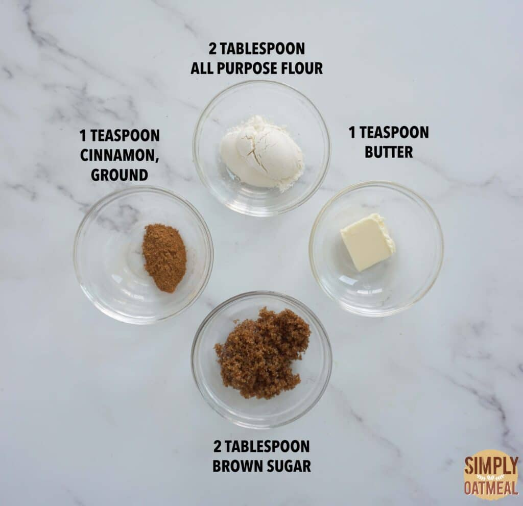 Ingredients to make streusel topping