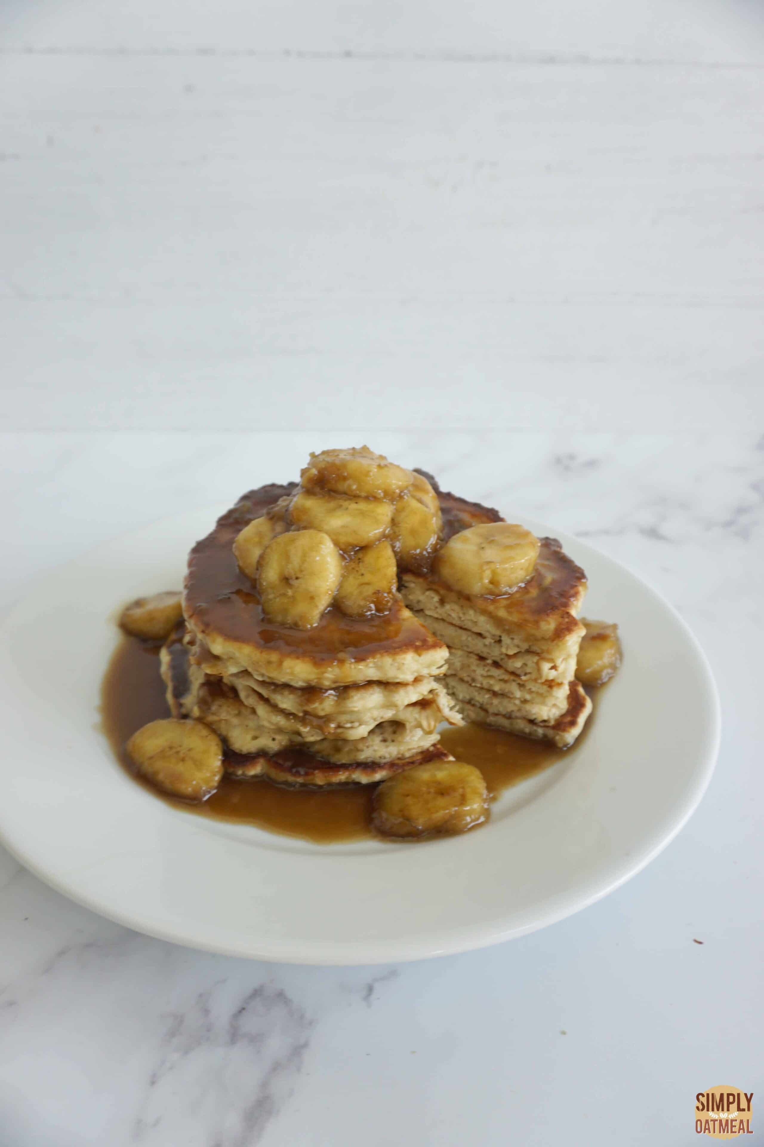 Cooked banana butterscotch oatmeal pancakes