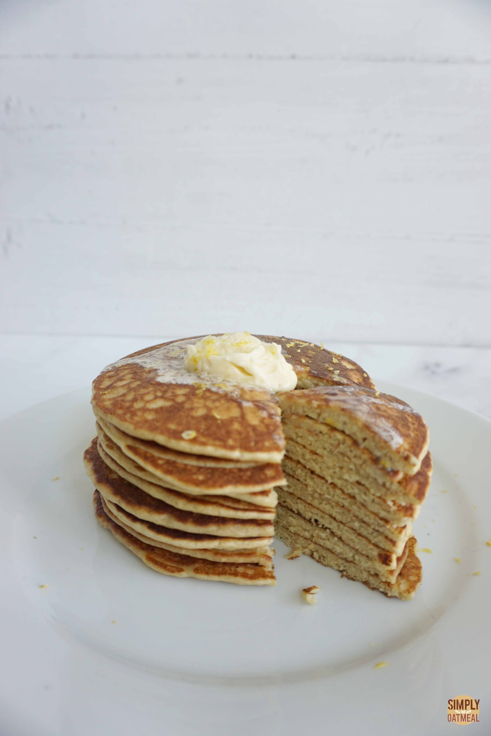 Lemon Ricotta Oatmeal Pancakes with Whipped Honey Butter (Gluten-Free)