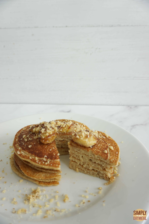 Cooked vegan banana oatmeal pancakes.