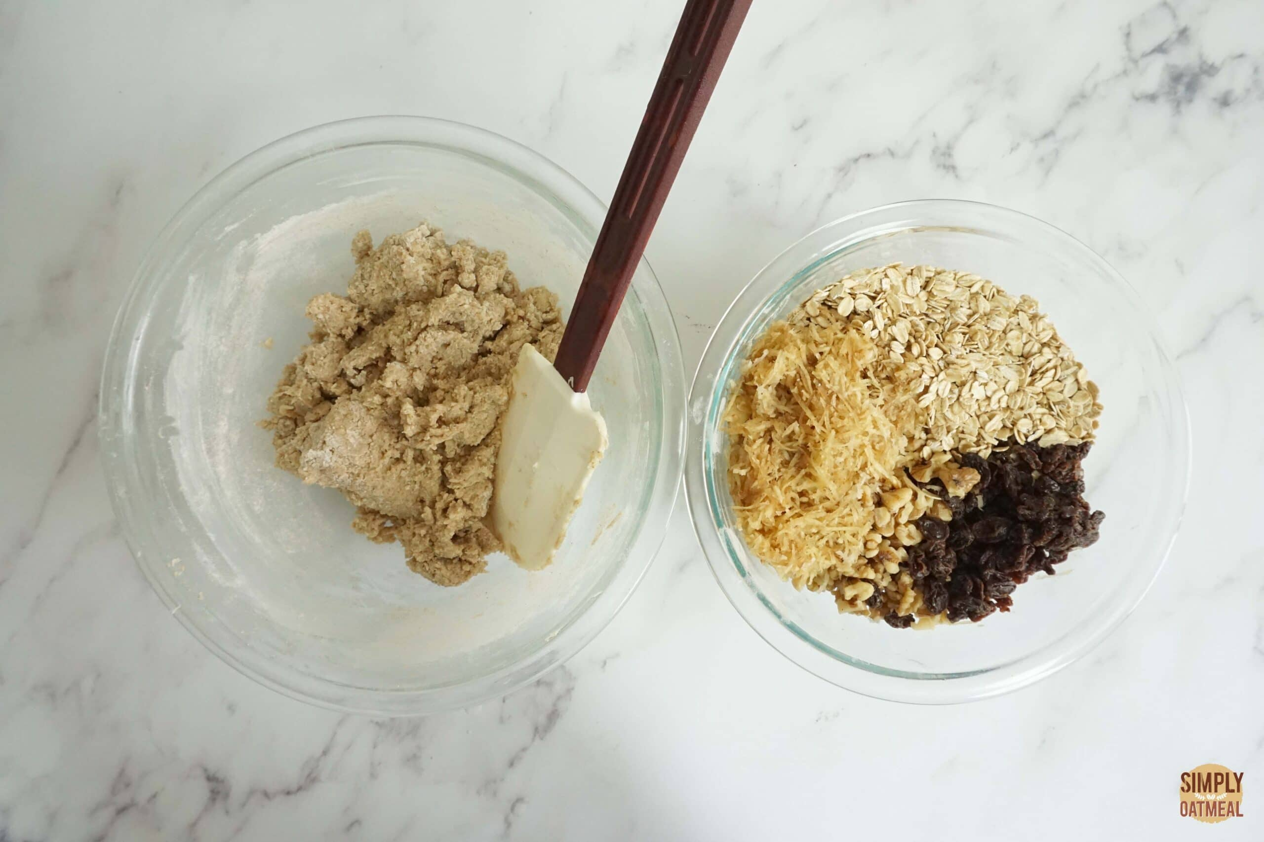 Fold grated carrot and raisins into oatmeal cookie dough.