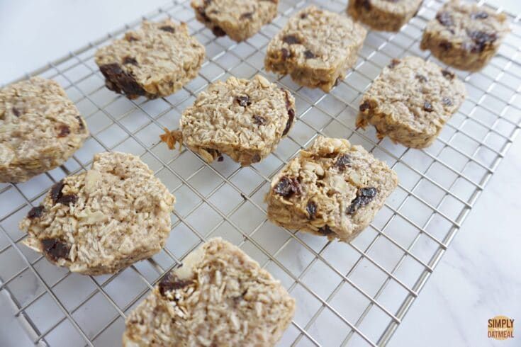 Hot carrot cake oatmeal cookies on wire rack.