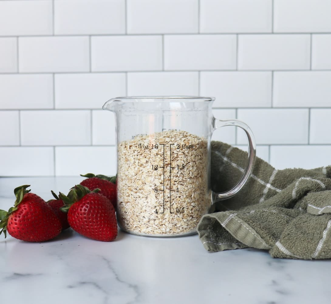 Bulk oats in an airtight plastic storage container