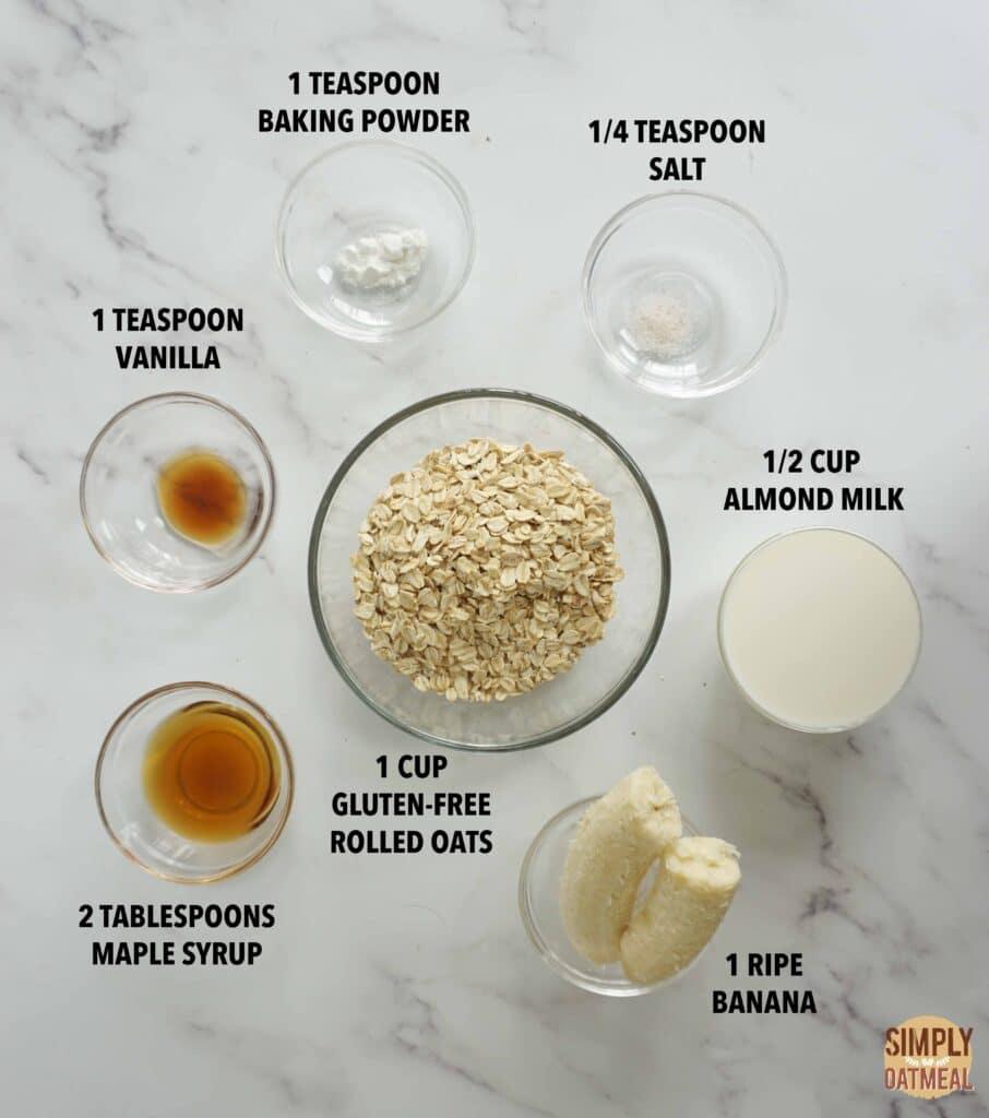 Ingredients to make vegan banana oatmeal pancakes.