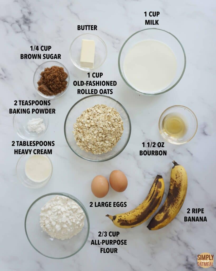 Ingredients to make banana butterscotch oatmeal pancakes