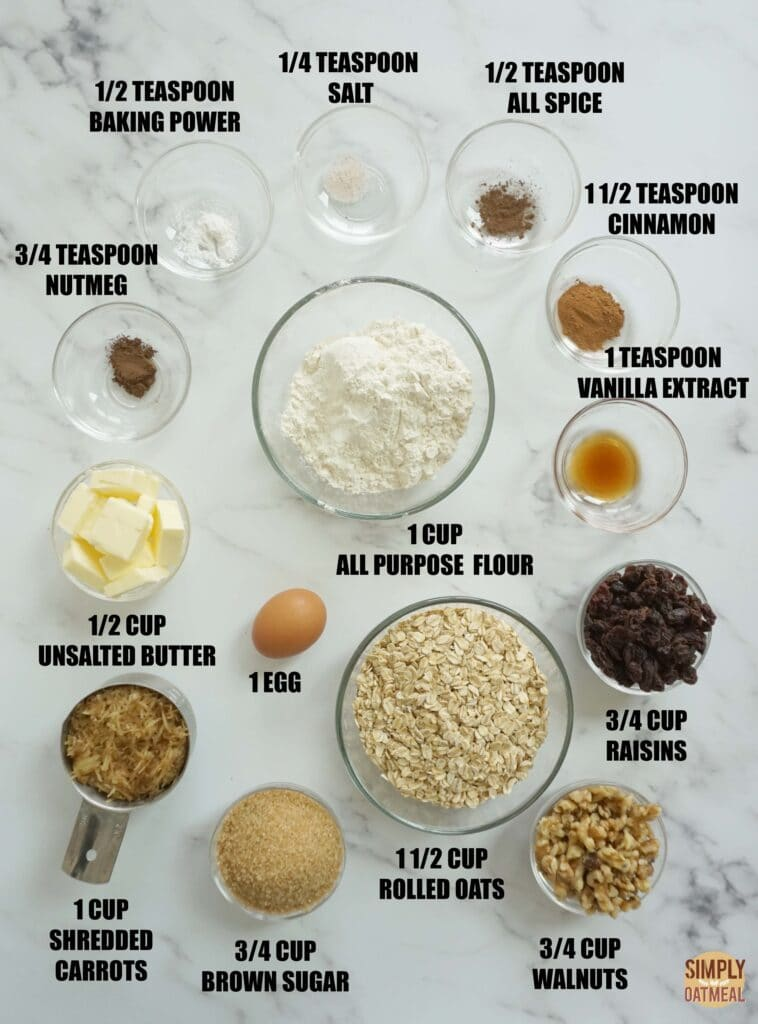 Ingredients to make carrot cake oatmeal cookies.