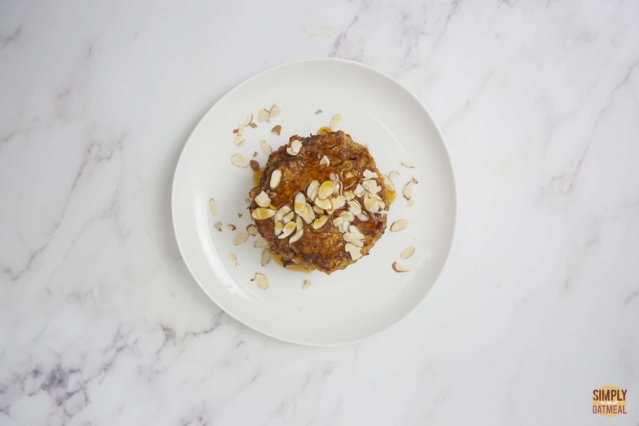 Sweet potato oatmeal pancakes on a white plate