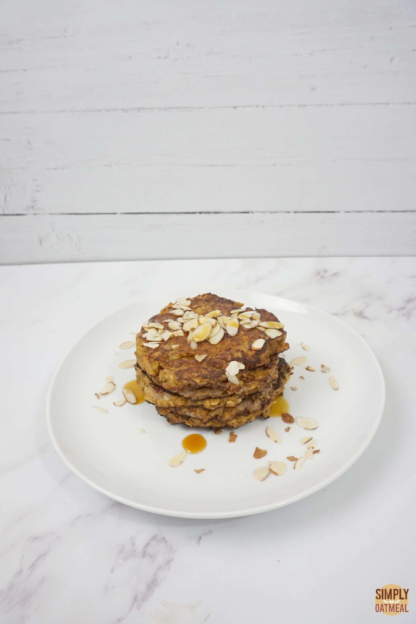 Sweet potato oatmeal pancakes with sliced almonds
