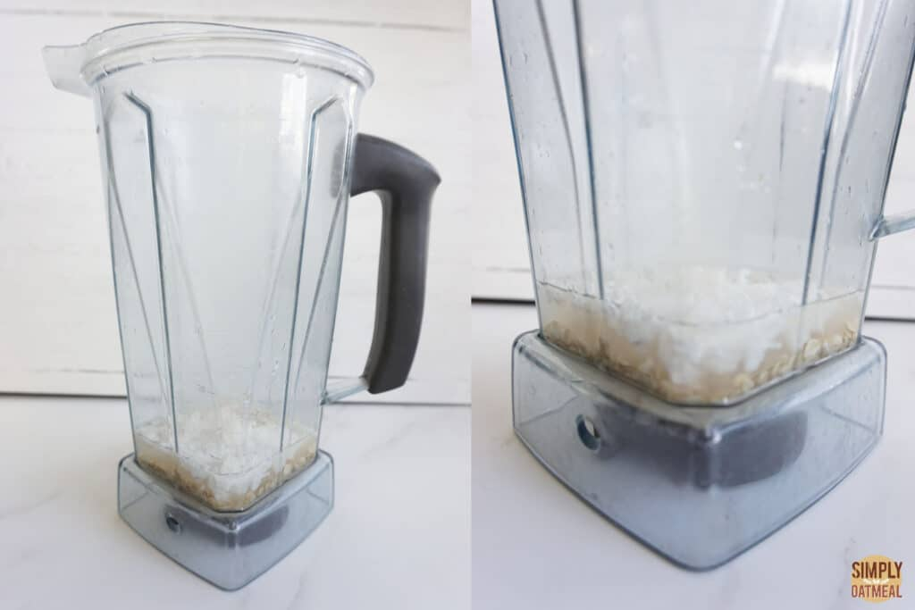 Blend the ingredients to make oat milk creamer