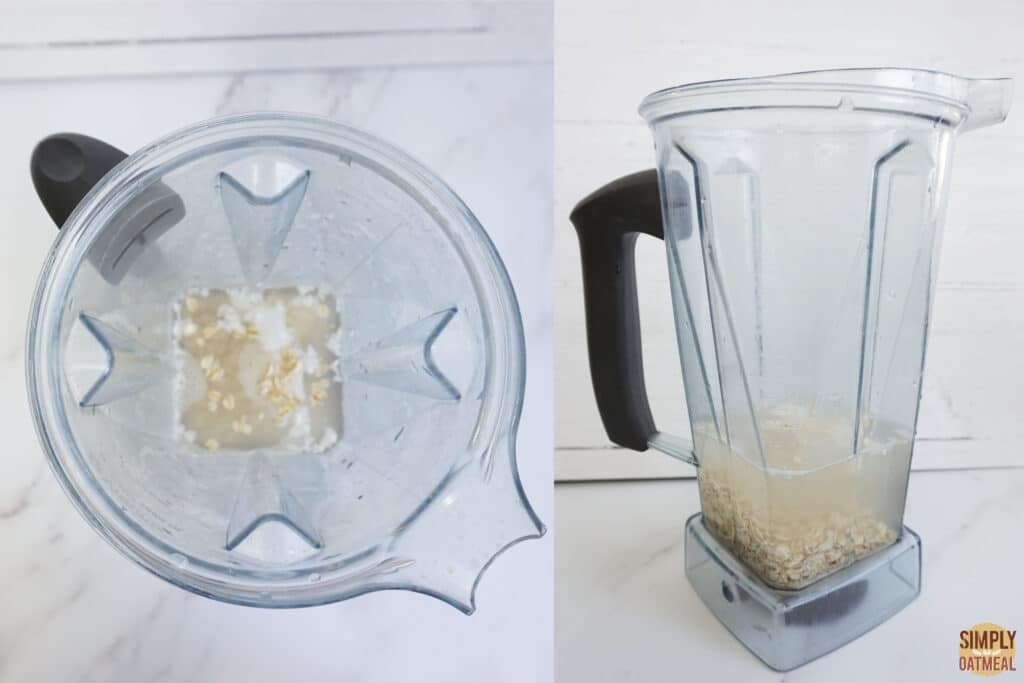 Blender with ingredients to make oat milk like oatly