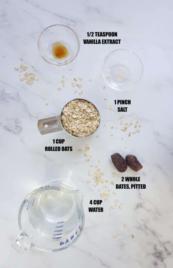 Ingredients to make oat milk