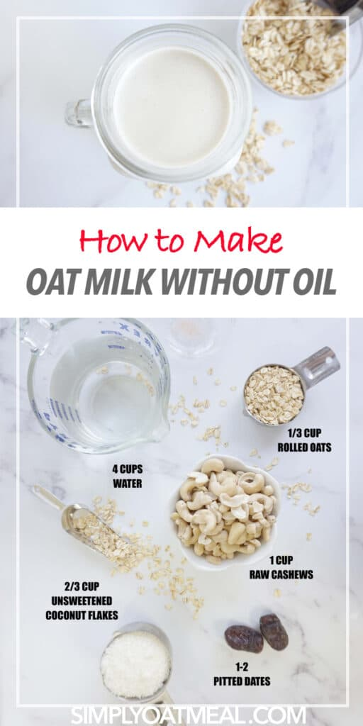 Ingredients to make oat milk without oil