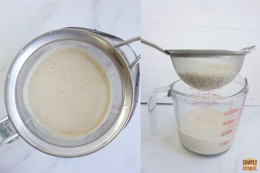 Strain the oat milk like oatly using a fine mesh strainer and a nut milk bag.