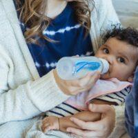 Babies drinking oat milk
